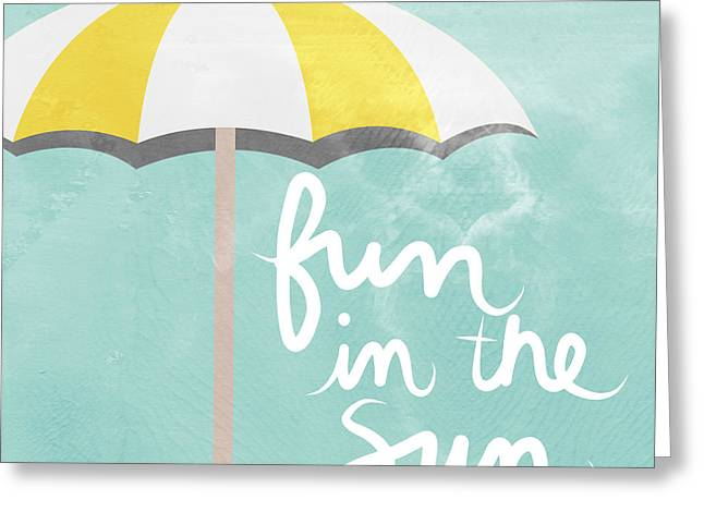 Umbrella Mixed Media Greeting Cards - Fun In The Sun Greeting Card by Linda Woods