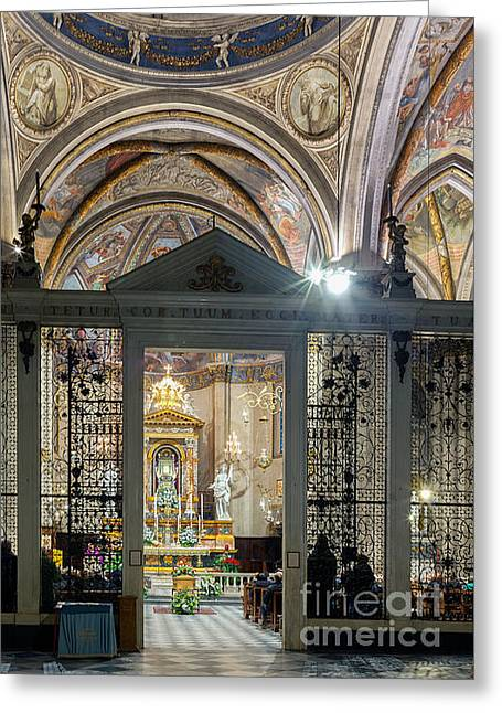 Funeral Mass, San Donato Cathedral Arezzo Greeting Card by Ezeepics
