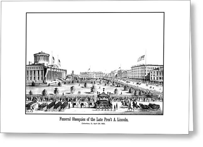 Funeral Greeting Cards - Funeral Obsequies Of President Lincoln Greeting Card by War Is Hell Store