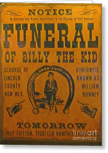 Fighters Greeting Cards - Funeral of Billy the Kid Greeting Card by John Malone