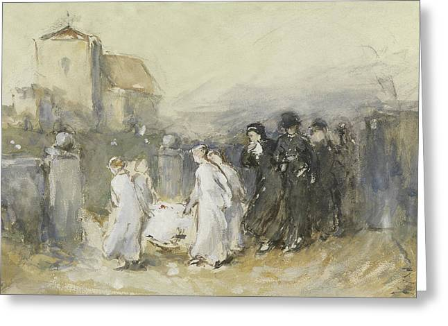 Funeral Of The First Born Greeting Card by Frank Holl