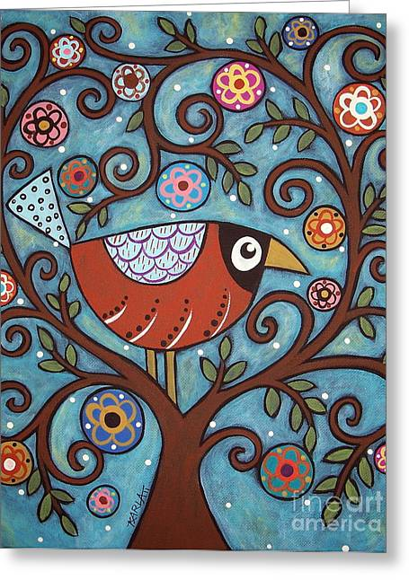 Tree Art Greeting Cards - Funky Bird Greeting Card by Karla Gerard