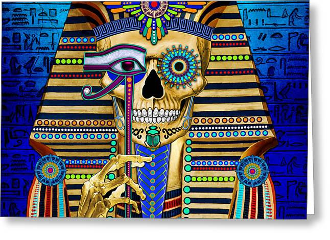 King Of Pop Mixed Media Greeting Cards - Funky Bone Pharaoh Greeting Card by Christopher Beikmann
