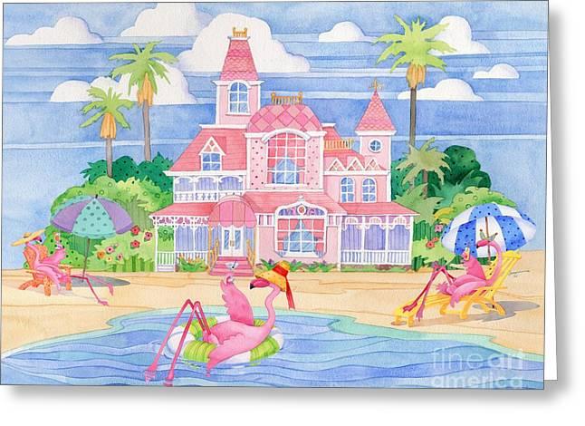 Coastal Birds Greeting Cards - Funky Flamingo Hotel II Greeting Card by Paul Brent