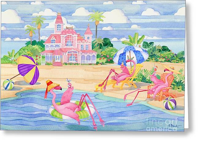 Coastal Birds Greeting Cards - Funky Flamingo Hotel III Greeting Card by Paul Brent