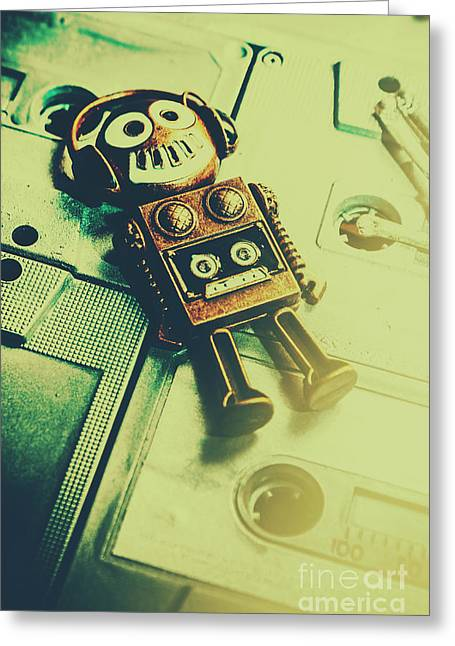 Funky Mixtape Robot Greeting Card by Jorgo Photography - Wall Art Gallery