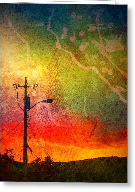 Powerline Greeting Cards - Funky Sunset Greeting Card by Tara Turner