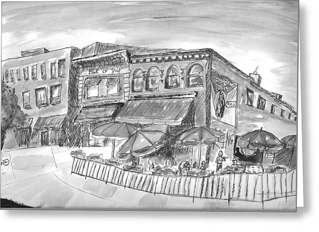 Recently Sold -  - White Drawings Greeting Cards - Funky Town  Greeting Card by Caleb Schmitz