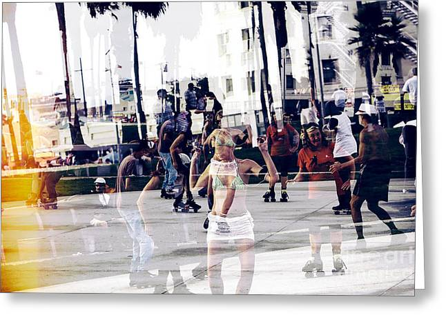 California Beach Art Greeting Cards - Funky Venice Beach Greeting Card by John Rizzuto