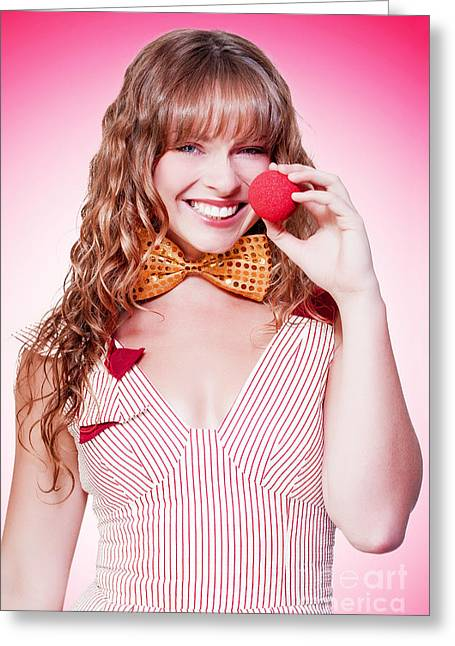 Bowtie Greeting Cards - Funny Business Woman Clowning Around Greeting Card by Ryan Jorgensen