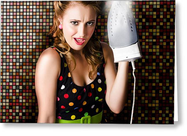 Funny Cute Cleaning Woman Ironing Retro Fashion Greeting Card by Jorgo Photography - Wall Art Gallery