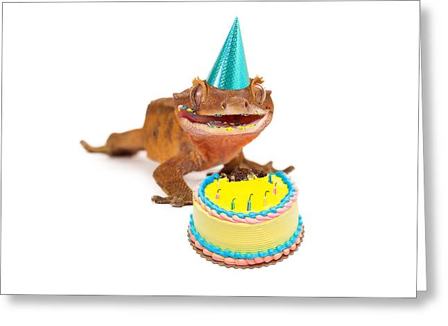 Funny Gecko Lizard Eating Birthday Cake Greeting Card by Susan Schmitz