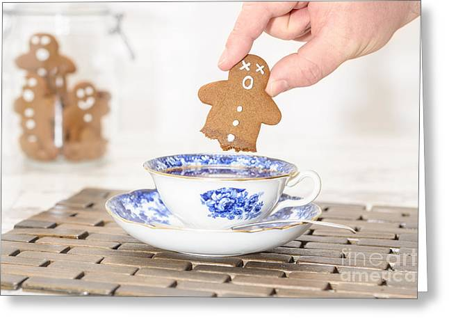Dunk Cookies Greeting Cards - Funny Gingerbread Greeting Card by Amanda And Christopher Elwell