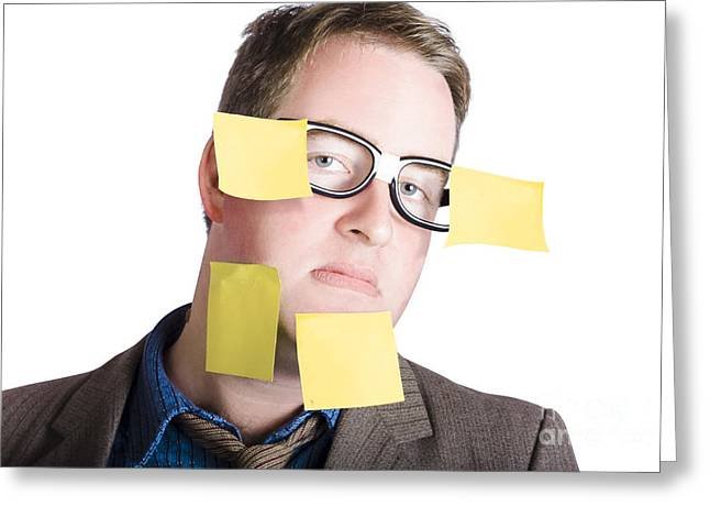 Obligation Greeting Cards - Funny man with yellow sticky notes on face Greeting Card by Ryan Jorgensen