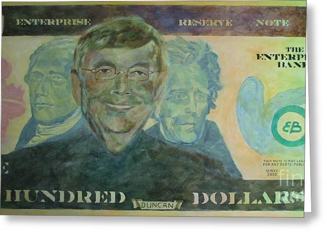 Enterprise Paintings Greeting Cards - Funny Money Greeting Card by Claire Gagnon
