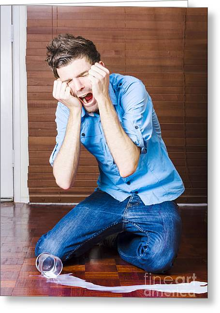 Funny Over The Top Man Crying Over Split Milk Greeting Card by Jorgo Photography - Wall Art Gallery