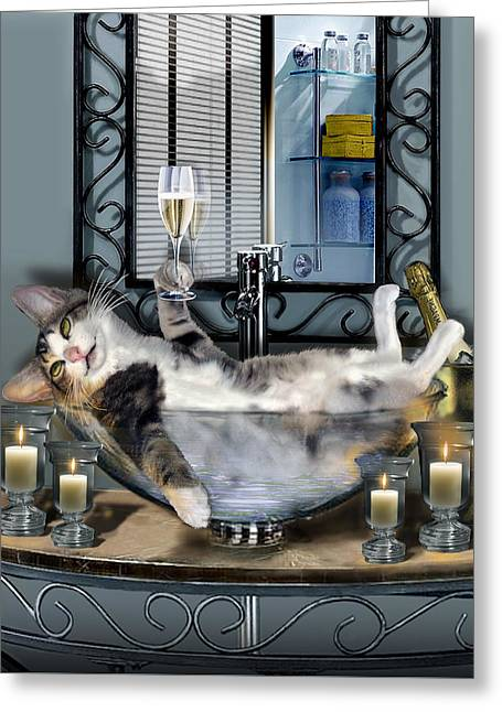 Bath Greeting Cards - Funny pet print with a tipsy kitty  Greeting Card by Gina Femrite