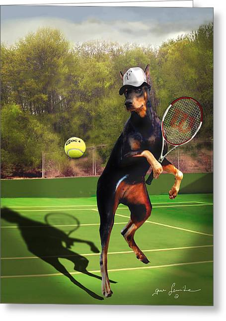 Racquet Paintings Greeting Cards - funny pet scene tennis playing Doberman Greeting Card by Gina Femrite