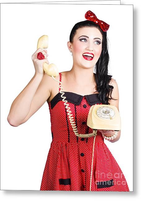 Charismatic Greeting Cards - Funny pin-up woman talking on retro phone Greeting Card by Ryan Jorgensen
