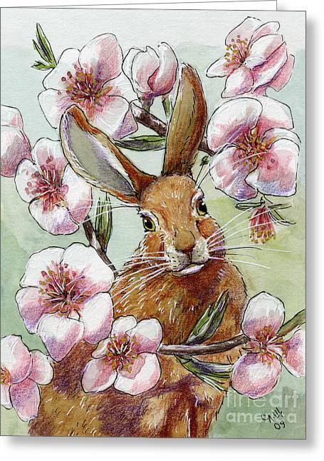 Funny Rabbits - Almond Spring Greeting Card by Svetlana Ledneva-Schukina
