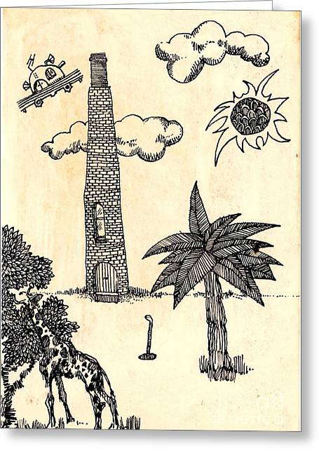 Ink Drawing Greeting Cards - Funny Stuff Greeting Card by Carolyn Weltman