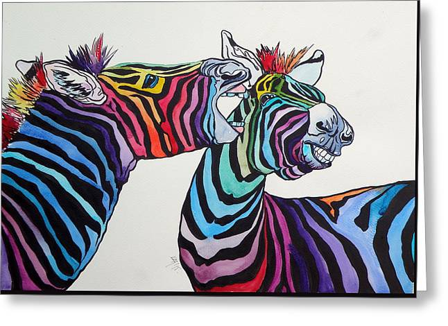 Funny Zebras Greeting Card by Kovacs Anna Brigitta