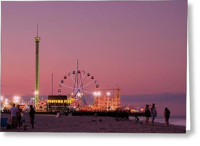 Best Sellers -  - Sunset Posters Greeting Cards - Funtown Pier At Sunset III - Jersey Shore Greeting Card by Angie Tirado