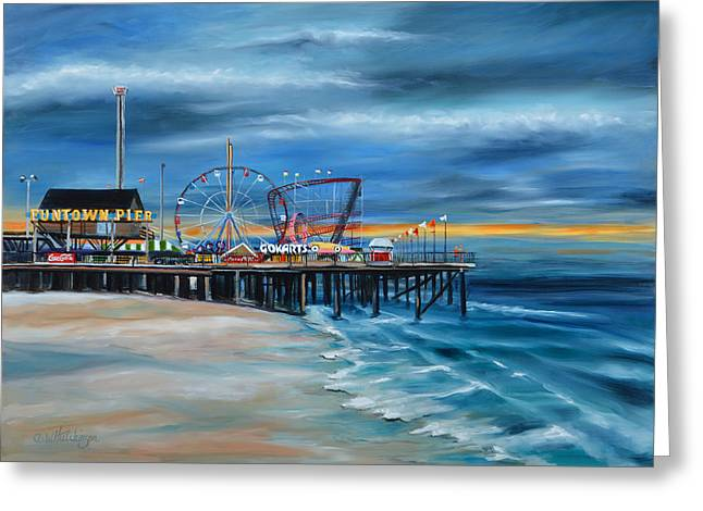 Seaside Heights Paintings Greeting Cards - Funtown Pier...Before Greeting Card by Diane Hutchinson