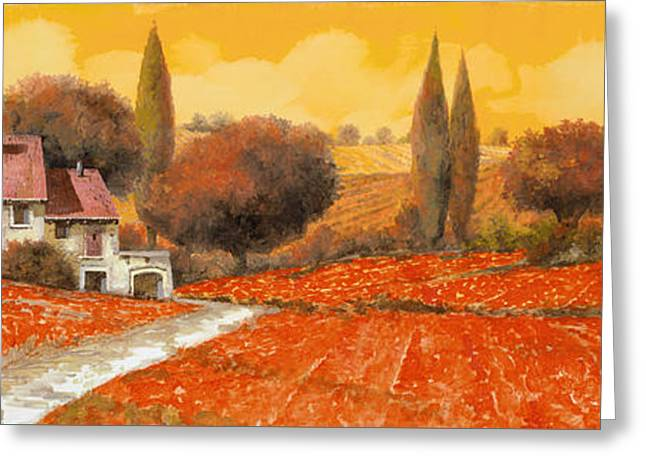 Landscapes Greeting Cards - fuoco di Toscana Greeting Card by Guido Borelli
