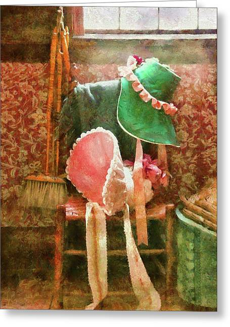 Furniture - Chair - Bonnets  Greeting Card by Mike Savad