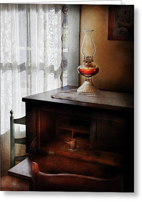 Furniture - Lamp - I Used To Write Letters  Greeting Card by Mike Savad