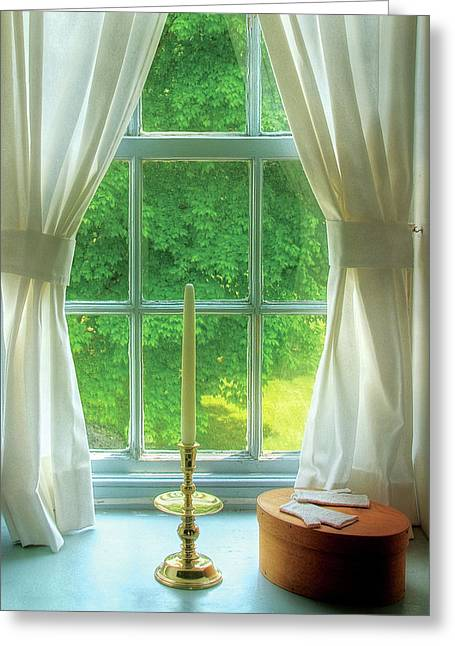 Glove Box Greeting Cards - Furniture - Lamp - Still life in a window  Greeting Card by Mike Savad
