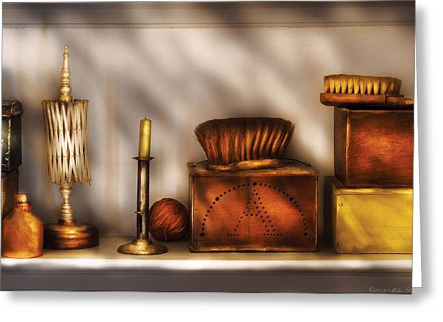 Furniture - Shelf - A Collection Of Curious Items Greeting Card by Mike Savad