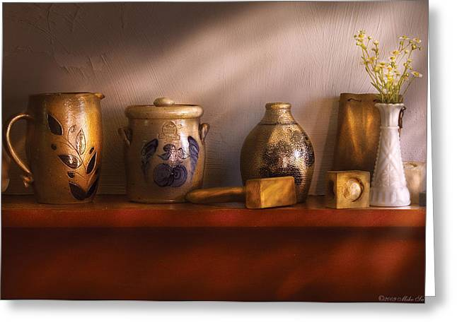 Furniture - Shelf - Family Heirlooms  Greeting Card by Mike Savad