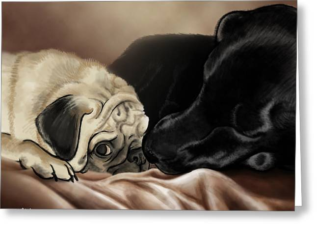 Retriever Prints Digital Art Greeting Cards - Furry Friends Greeting Card by Matt Upholz