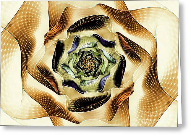 Blue Green Wave Greeting Cards - Futuristic Flower Greeting Card by Deborah Benoit
