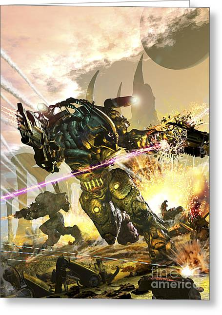 Armor Concept Greeting Cards - Futuristic Robotic Marines Charging Greeting Card by Kurt Miller