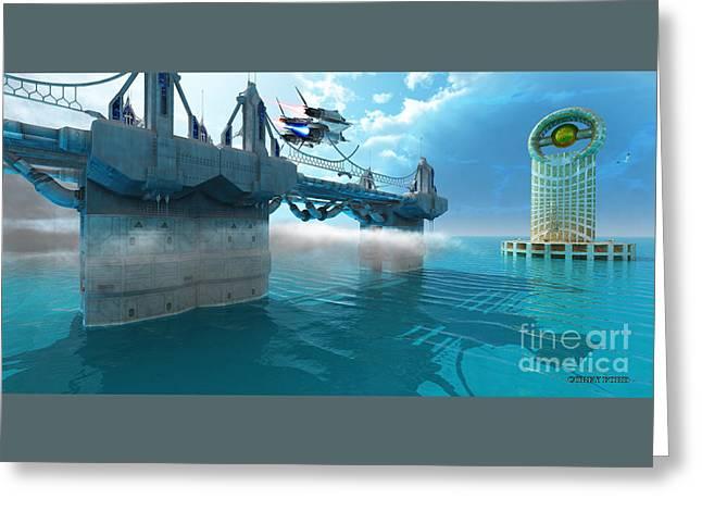 Futuristic Skyway Greeting Card by Corey Ford