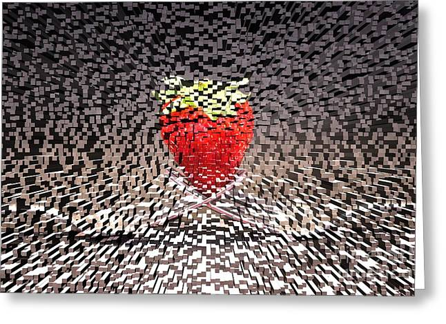 Spectacular Mixed Media Greeting Cards - Futuristic Strawberry Greeting Card by Clare Bevan