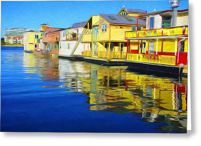 Color Enhanced Mixed Media Greeting Cards - Fishermans Wharf Greeting Card by Marilyn Wilson