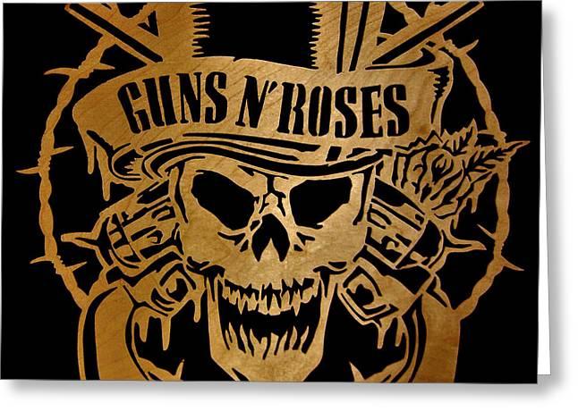 Guns N' Roses - Scrolled Greeting Card by Michael Bergman
