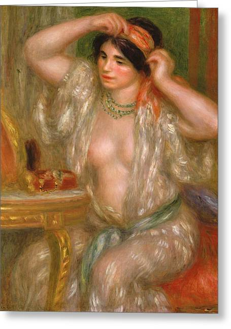 Gabrielle At The Mirror Greeting Card by Pierre Auguste Renoir
