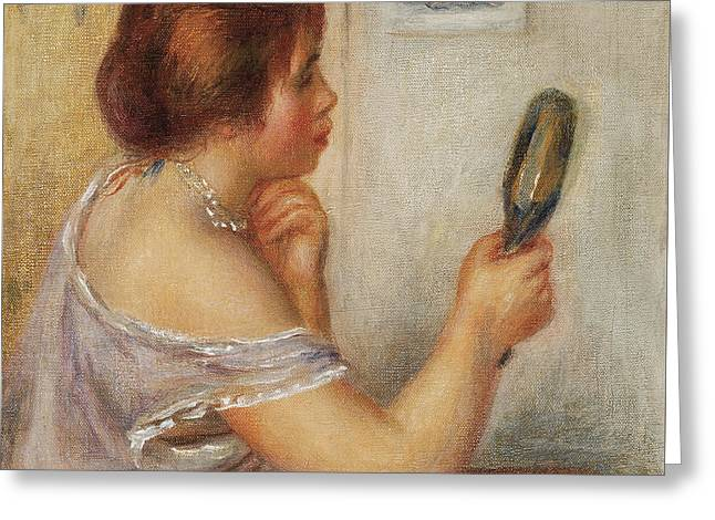 Gabrielle Holding A Mirror Or Marie Dupuis Holding A Mirror With A Portrait Of Coco Greeting Card by Pierre Auguste Renoir