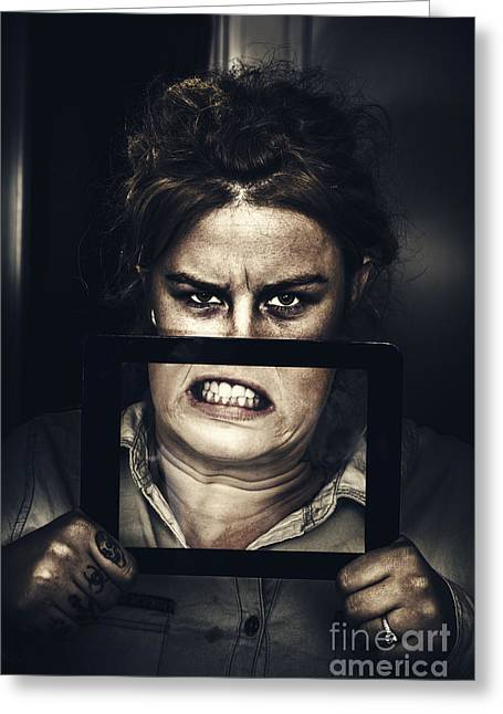 Angry Face Greeting Cards - Gadget mad woman with new tablet technology Greeting Card by Ryan Jorgensen