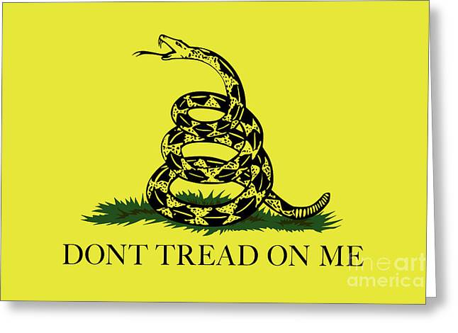 Gadsden Dont Tread On Me Flag Authentic Version Greeting Card by Bruce Stanfield