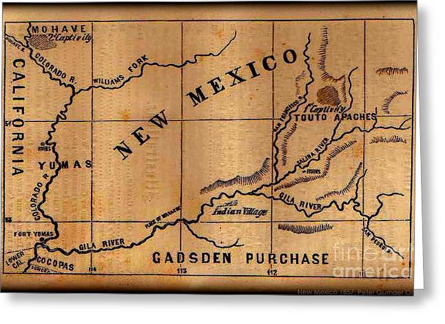 Purchase Greeting Cards - Gadsden Purchase 1850s New Mexico Map Greeting Card by Peter Gumaer Ogden Gallery