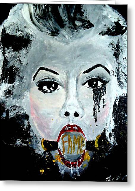 Starlet Paintings Greeting Cards - Gagged by Fame Greeting Card by Nick Mantlo-Coots