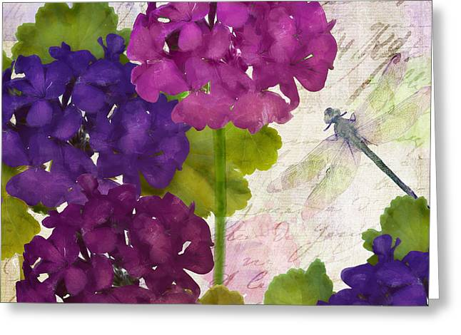 Dragonflies Greeting Cards - Gaia II Geraniums Greeting Card by Mindy Sommers