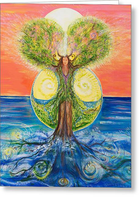 Gaia Greeting Cards - Gaia rising Greeting Card by Solveig Katrin
