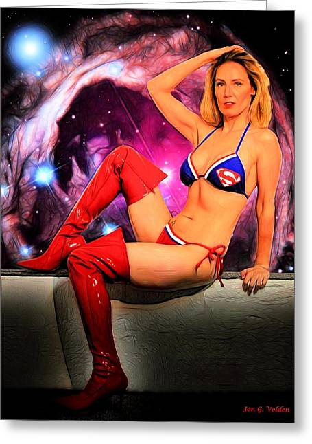 Supergirl Paintings Greeting Cards - Galactic Hero  Greeting Card by Jon Volden